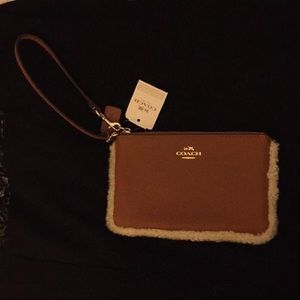 Coach Saddle/Natural Leather Wristlet